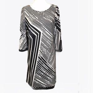 Calvin Klein Black and White Geometric Print Dress